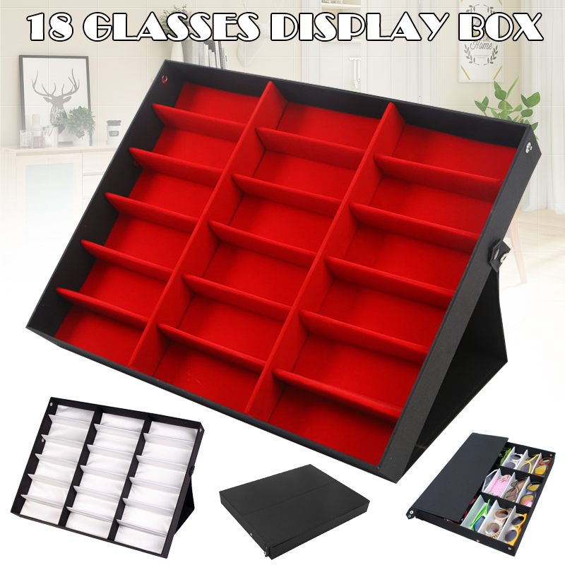 18 Slots Glasses Protective Box Case Sunglass Display Storage Tray Organizer KQS8
