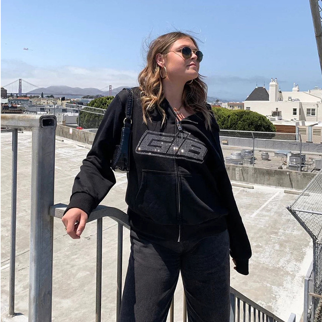 2020 Y2K Fashion Rhinestone Zipper Oversized Hoodies E-girl Vintage Solid Letter Long Sleeve Black Sweatshirts Autumn Outfits 4