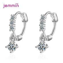 Круглые серьги кольца из 100% серебра 925 пробы с фианитом модные