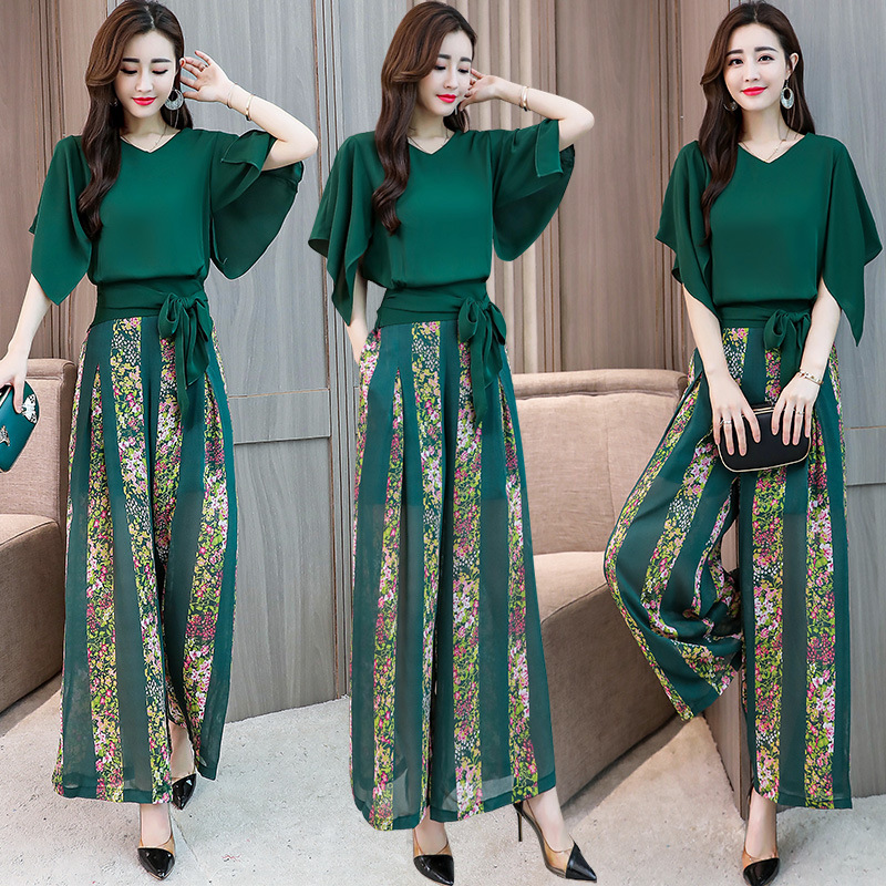 2019 Summer Wear New Style WOMEN'S Suit Elegant-Style Fashionable Goddess-Style Short-height Slimming Debutante Two-Piece Set Fa