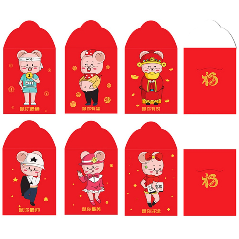 6pcs/set Paper Cute Red Envelopes 2020 Chinese New Year Cartoon Hong Bao Traditional Gift Wedding Rat Packet Lucky Money Pocket