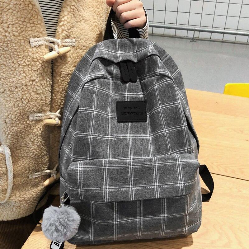 DCIMOR New Cotton Women Backpack Female Plaid School Bag For Teenage Girls High Quality Travel Backpacks Hair Ball Book Mochilas