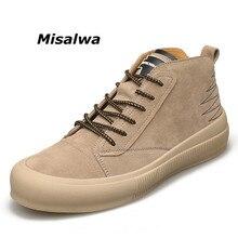Misalwa 2020 جديد الخريف الرجال الأحذية الترفيه جولة تو البريطانية نمط رجل حذاء من الجلد المضادة للانزلاق بوتاس في الهواء الطلق أحذية رياضية الشتاء الشقق