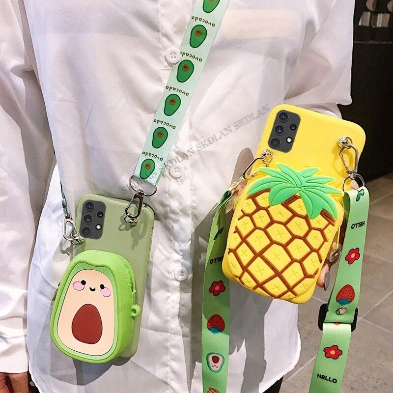 For Samsung A32 A52 A72 A12 S212 Ultra 3D Cute Fruit Bag Zipper Wallet Phone Case For Samsung A32 A12 A52 S21 S20 Soft TPU Cover