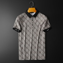 Mercerized cotton men's personality printed lapel short-sleeved T-shirt men's youth slim POLO shirt half-sleeved T