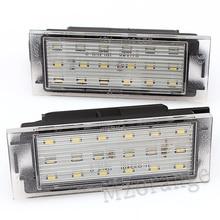 цена на Number License Plate Light 2Pcs Car LED For Renault Clio Laguna 2 Twingo Master Megane 3 Vel Satis SMD3528 Car Lights