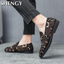 Men Shoes Casual Boat Shoes Mens Loafer Floral Print Men's Flat Shoes Male Breathable Sneakers Comfy Slip-On Outdoor Shoes Men