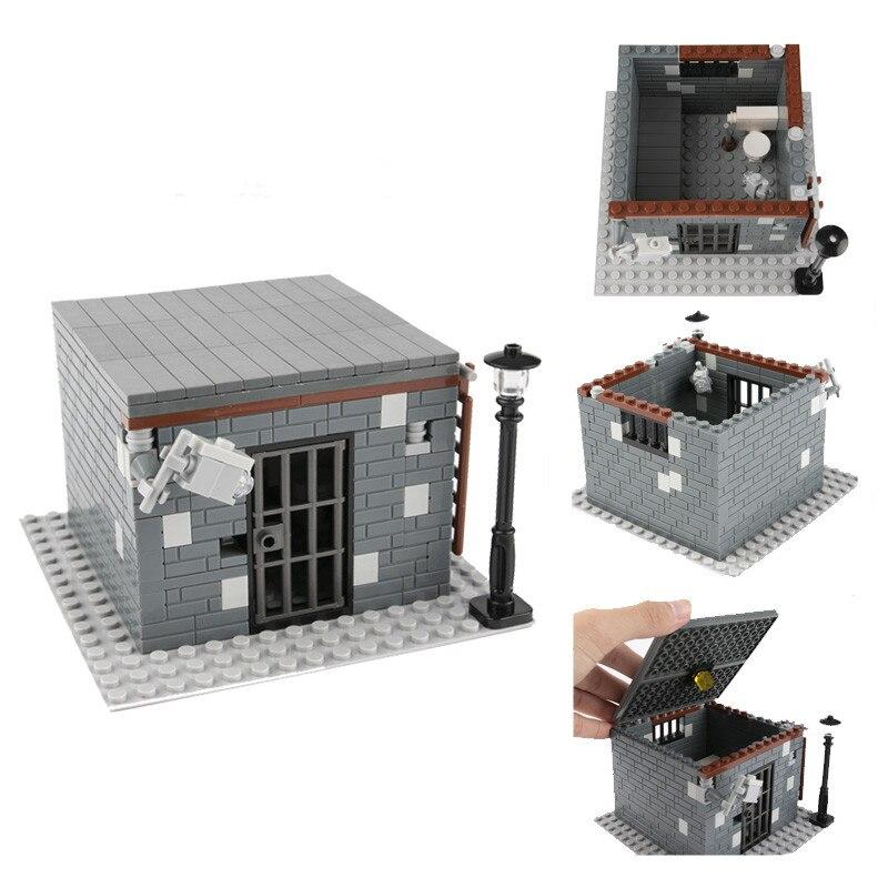 Bloco de Construção Da Cidade de MOC Acessórios Prisão Cela Da Polícia Conjunto Modelo de Quarto Casa Lâmpada de Rua Wc Cama Enfermaria Militar Tijolos D136
