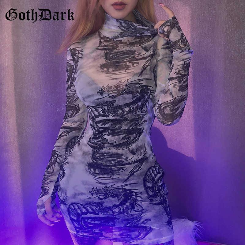 גותיקה כהה דרקון הדפסת גותי פאנק נקבה שמלות Harajuku Longsleeve סתיו 2019 גראנג 'רשת נשים של שמלת אסתטי אופנה