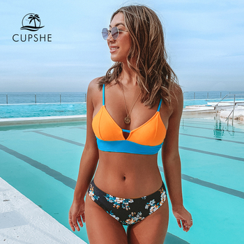 CUPSHE Colorblock and Floral Print Bottom Bikini Sets Sexy Lace Up Swimsuit Two Pieces Swimwear Women 2020 Beach Bathing Suits