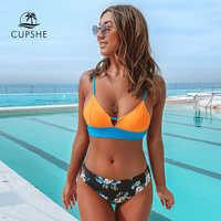 CUPSHE Colorblock et imprimé fleuri bas Bikini ensembles Sexy à lacets maillot de bain deux pièces maillots de bain femmes 2020 plage maillots de bain