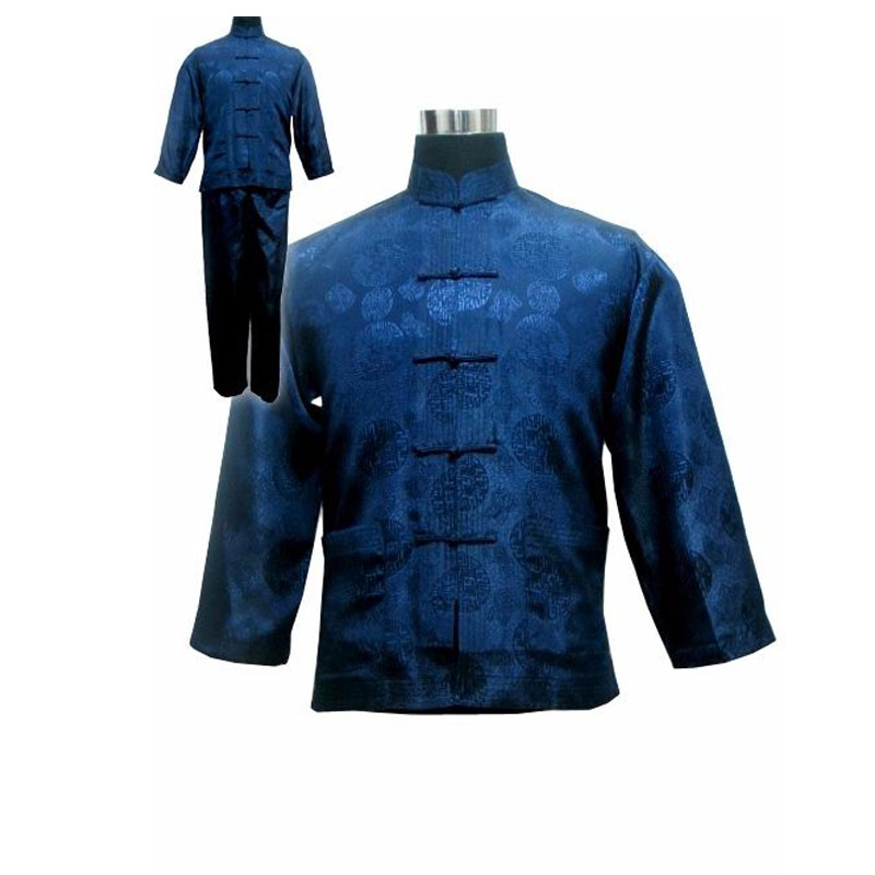 Navy Blue Chinese Men's Satin Kung Fu Suit Chinese Traditional Male Wu Shu Sets Tai Chi Uniform Clothing Plus Size S-XXXL 011311