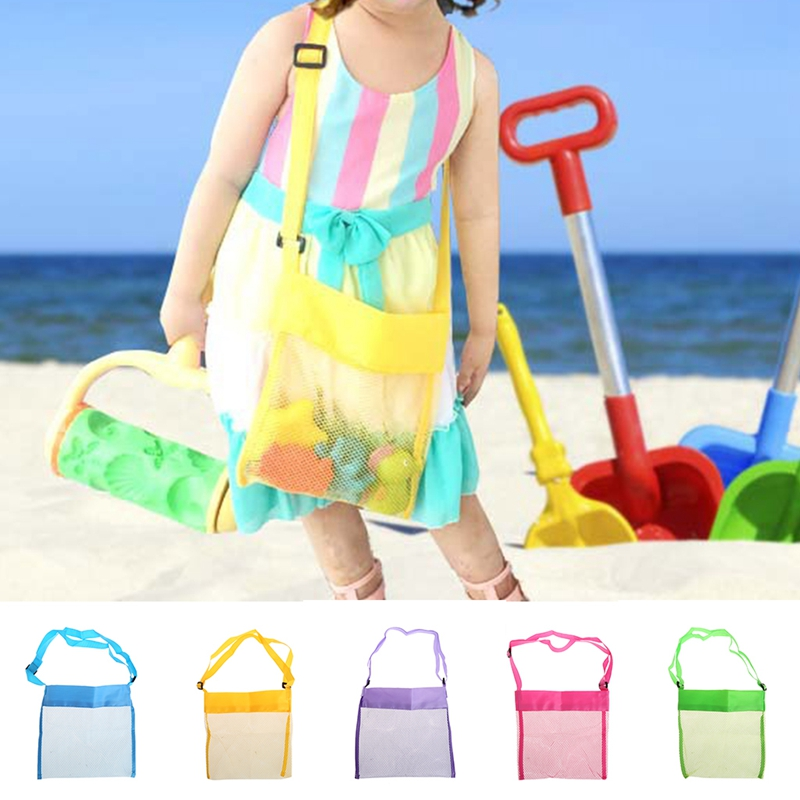 Portable Kids Sand Away Mesh Beach Bag Shell Collection Carrying Toys Storage