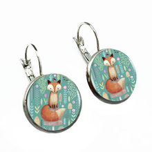 The Carton Flower Fox Ear Studs Round Jewelry Glass Dome Earrings(China)