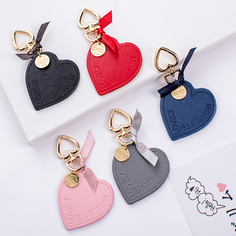 CHUNOU Chic Korean Heart Love Leather Keychain Metal Gold-Color Love Bow Key ring Bag Pendant Accessories For Women llaveros