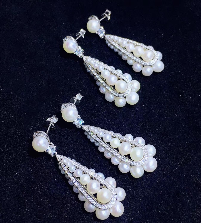 100% reale naturale di acqua dolce perla orecchino di goccia dal piccolo al grande 2 6 MILLIMETRI argento sterling 925 con cubic zircon dei monili di modo - 6