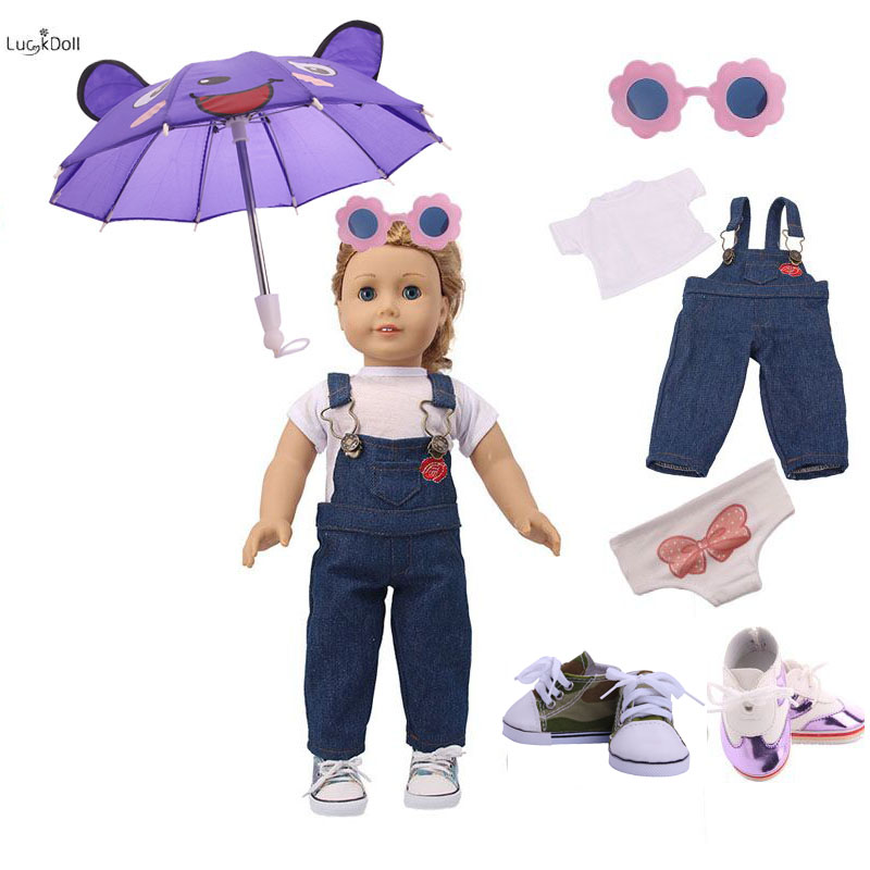 LUCKDOLL1Set=WhiteT+Sling Jeans+Glasses+Umbrella+Two Pairs Lace Casual Shoes For 18 Inch US And 43cm Doll Generation&Girl/Boytoy