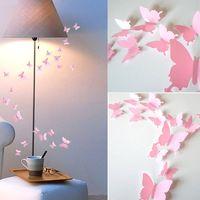 12 Uds. De calcomanías de pared para decoración del hogar, decoración rosa para habitación, 3d, mariposa, fotografía de boda