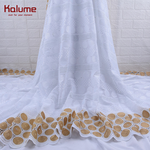Image 1 - 100% Cotton Design Swiss Voile Lace In Switzerland With Stones African Dry Lace Fabric High Quality Nigerian For Wedding 1760