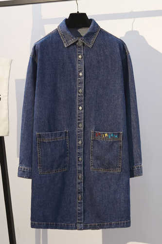 Longgar Biru Denim Panjang Trench Coat Wanita 2019 Fashion Streetwear Celana Jeans Panjang Mantel dengan Saku Lengan Panjang Ukuran Lebih Tahan Dr 5XL