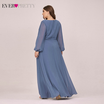 Plus Size Dusty Blue Mother Other Of The Bride Dresses Ever Pretty EP00461DN A-Line V-Neck Full Sleeve Appliques Party Gowns 2