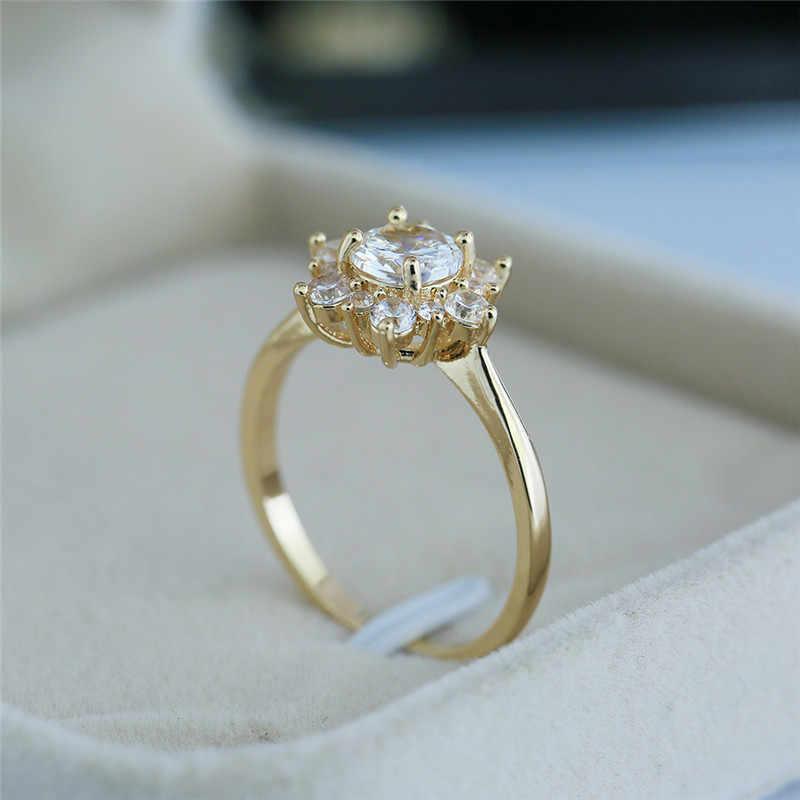 Luxo feminino anel de floco de neve moda 925 prata amarelo rosa cor de ouro cristal zircão anel de pedra anéis de casamento vintage para mulher
