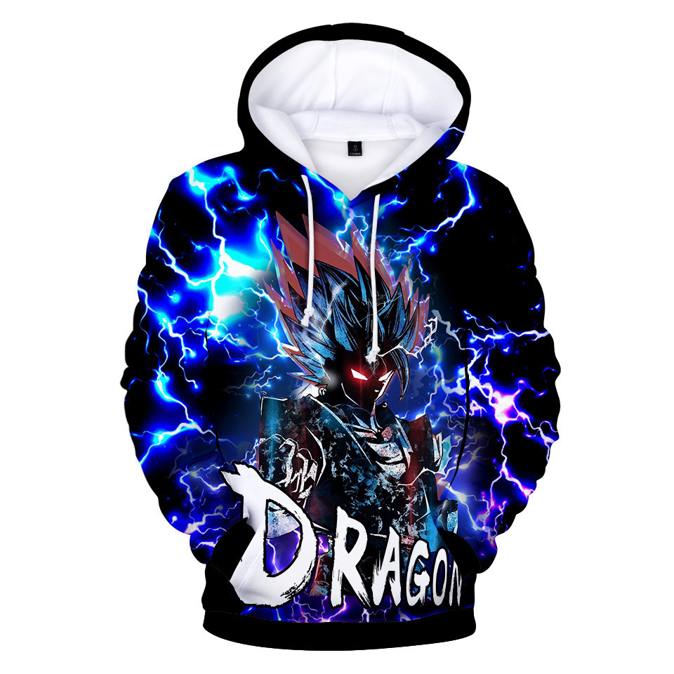 Hot Sales Trend Dragon Ball Japanese Man Digital Printing 3D Long Sleeve Hooded Plus Velvet Hoodie