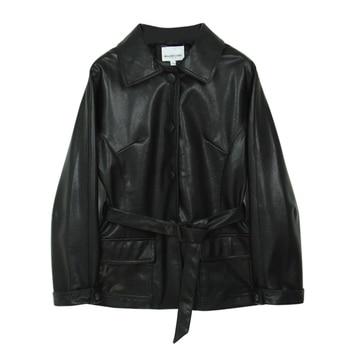 Ailegogo New Women Loose Pu Faux Soft Leather Green Jacket Turndown Collar Biker Overcoat Single Breasted Pocket Coat With Belt 5