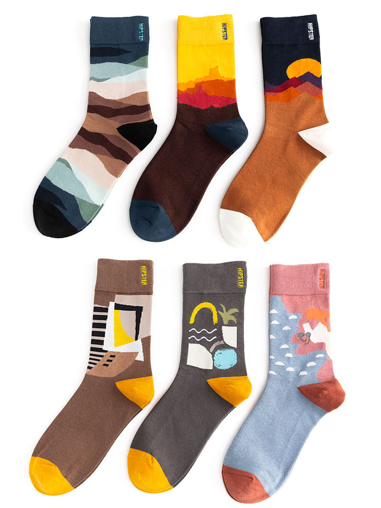 Women Socks Painting-Style Harajuku Colorful Streetwear-Size 100-Cotton Unisex Kawaii
