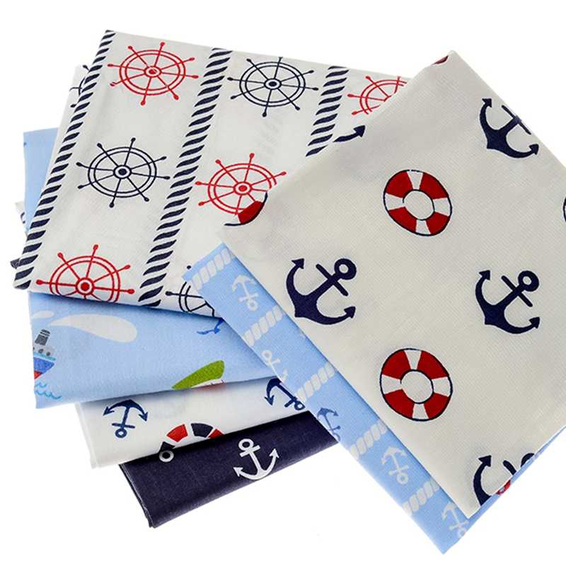 6 قطعة مطبوعات ألياف قطنية البحرية نسيج القطن النسيج DIY بها بنفسك اليدوية منسوجات القماش منسوجات لخياطة الملابس خليط