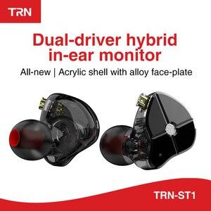 Image 1 - AK TRN ST1 1BA+1DD Hybrid Metal In Ear Earphone IEM HIFI DJ Monitor Running Sport Earphone Earplug Headset Headplug BA5/v90