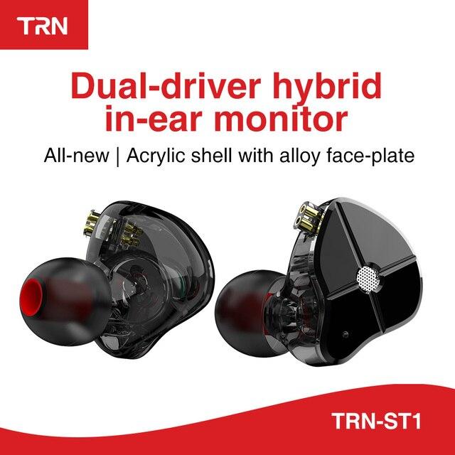 Ak Trn ST1 1BA + 1DD Hybrid Metal In Ear Oortelefoon Iem Hifi Dj Monitor Running Sport Oortelefoon Oordopje Headset headplug BA5/V90