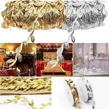 Feuilles de vigne artificielles en soie or naturel 10m, pour mariage, feuillage fait à la main, couronne, Scrapbooking, décoration artisanale Par G7Q5