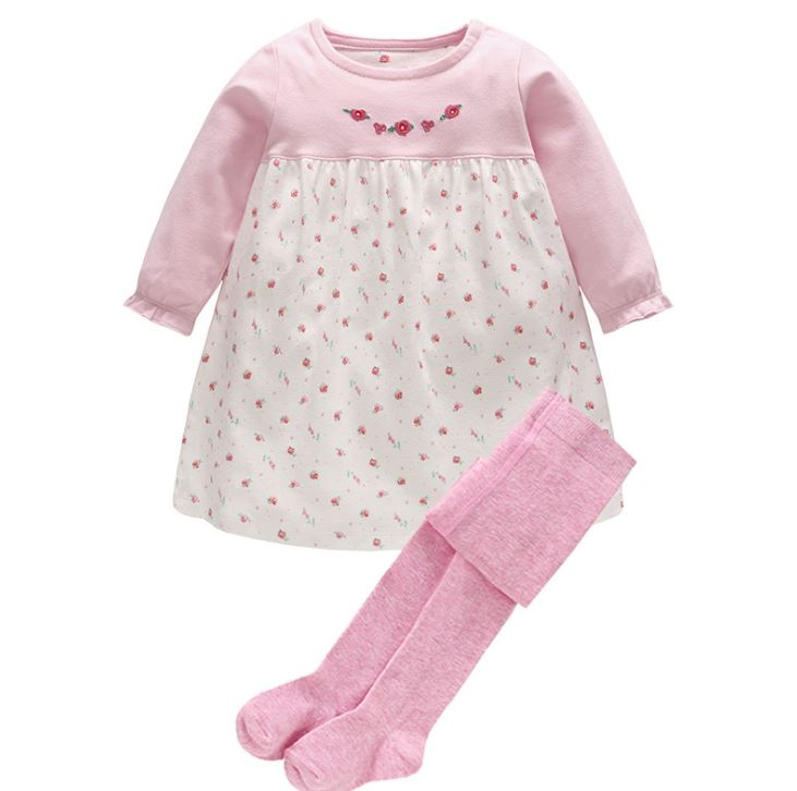 Toddler Baby Girl Clothes Set 2Pcs Foral Long Sleeve Infant Dress + Cotton Pants Tights Outfit Set Newborn Baby Clothing Suit