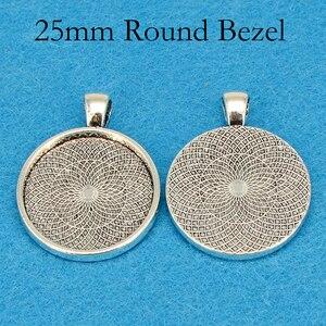 Image 4 - Plateau à pendentif plaqué argent, cadre de résine à pendentif rond, cadre de Cabochon de 25mm, cadre de résine, 25mm, 100 pièces