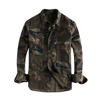 Japanese Harajuku Big Pockets Camouflage Shirt for Men Urban Boys Streetwear Hip Hop Punk Long Sleeve Button Up Camo Shirt