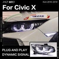 AKD Car Styling for Honda Civic Headlights 2016 2019 Civic X LED Headlight LED DRL Hid Head Lamp Angel Eye Bi Xenon Accessories