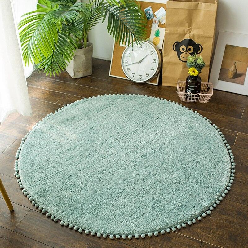 Nordique rond tapis tapis pour salon rose tapis filles enfants chambre ronde tapis pour chambre moderne ordinateur chaise tapis salle d'étude