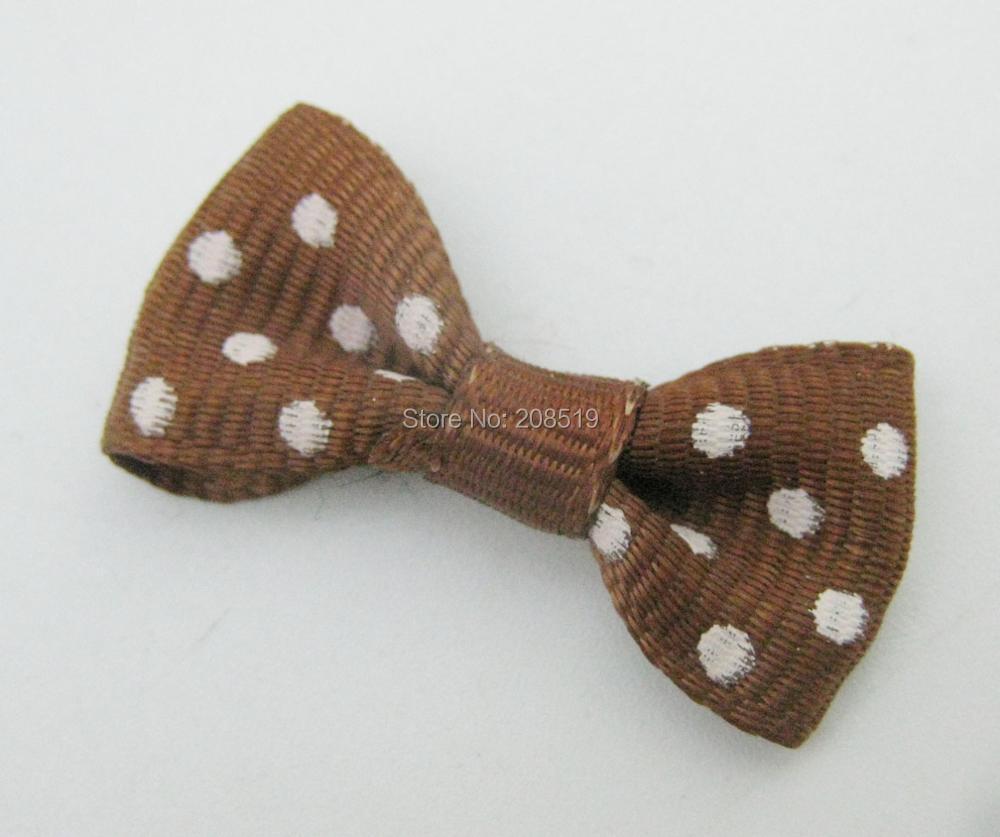 FZNNWE 100 шт маленький размер корсажная лента бабочка в горошек разноцветные DIY Швейные принадлежности ручной работы банты для волос Детские - Цвет: as show 17 brown