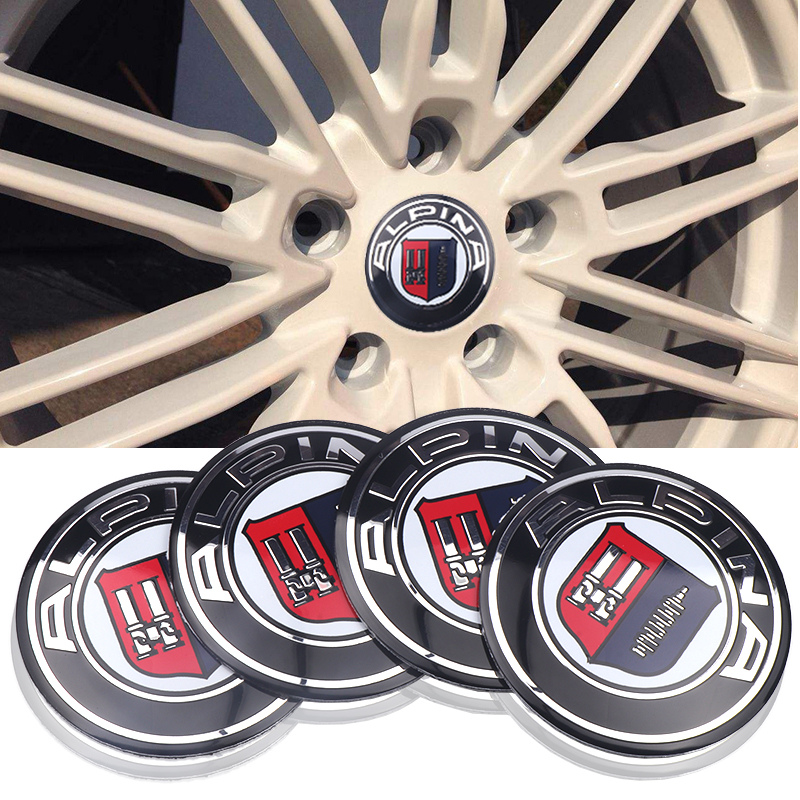Car Styling 4pcs/sets 56.5mm Aluminum ALPINA emblem Car Wheel Center Hub Caps Sticker For BMW E46 E39 E90 E60 E36 F30 X5 E53 F10 image