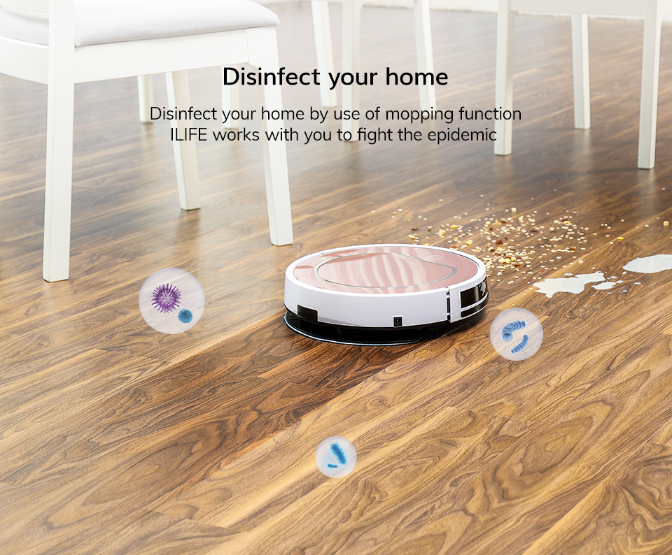 H486e40189259462abc61e1c62a508732b ILIFE V7s Plus Robot Vacuum Cleaner Sweep and Wet Mopping Disinfection For Hard Floors&Carpet Run 120mins Automatically Charge