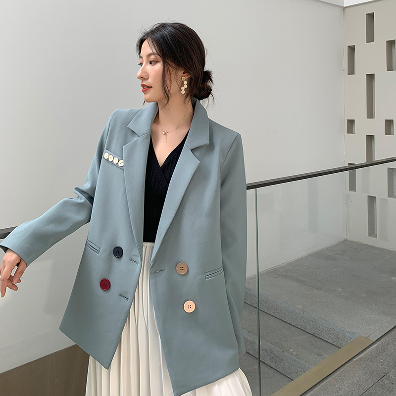 New Autumn 2019 Women Blazer Jacket Coat Double-breasted Blue Suit Casual Ladies Office Work Blazers