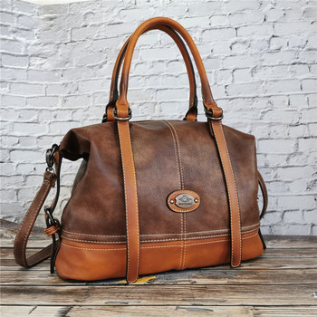 IMYOK Vintage Handbag New 2020 Leather Bags for Women Lady's Travel Totes Hand Bag Large Capacity Shoulder Designer Bolsa Femini classic women s leather luxury bag designer handbag vintage totes ladies shoulder hand bags for women 2020 large capacity purse