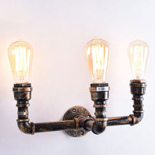 Retro Industrial Wall Lamp Vintage iron rust Water pipe Lamps E27 Loft Light Plated Indoor Lighting Home bedroom restaurant Deco(China)