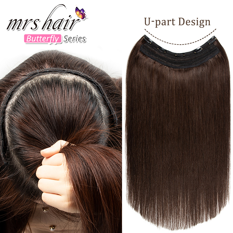 MRSHAIR U Type Clip in Extension Natural Hair Extensions Thick Volume Full Head Machine Remy 100% Human Hair #2 #1B #60 160G