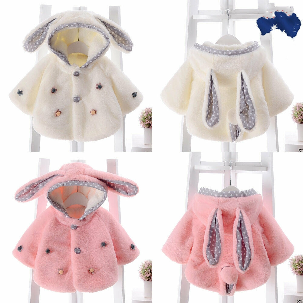 Jacket Coat Cloak Hoodie Rabbit-Ear Fleece Girls Winter Kids Soft for 6-24month Outfit title=
