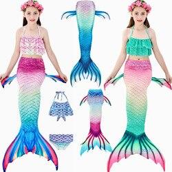 Лидер продаж! 3 шт./компл., детский купальный костюм русалки с хвостом для девочек, летнее купальное платье, костюм русалки с хвостом, без моно...
