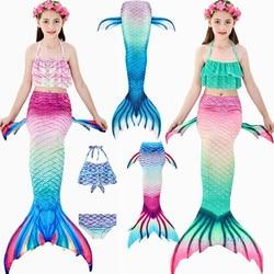 HOT!3PCS/Set Kids Girls Mermaid Swimming Tail Swimsuit Summer swim dress cosplay mermaid tails No monofin Swimwear for Girls