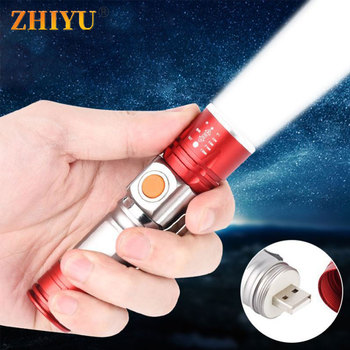 Portable XPE LED Flashlight 4 Modes Zoom Torch USB Rechargeable Flash Light with Pen Clips Mini Lamps for Camping Hiking Working pen light mini portable led flashlight 2000 lumens 1 switch mode led flashlight for the dentist xpe white light purple light