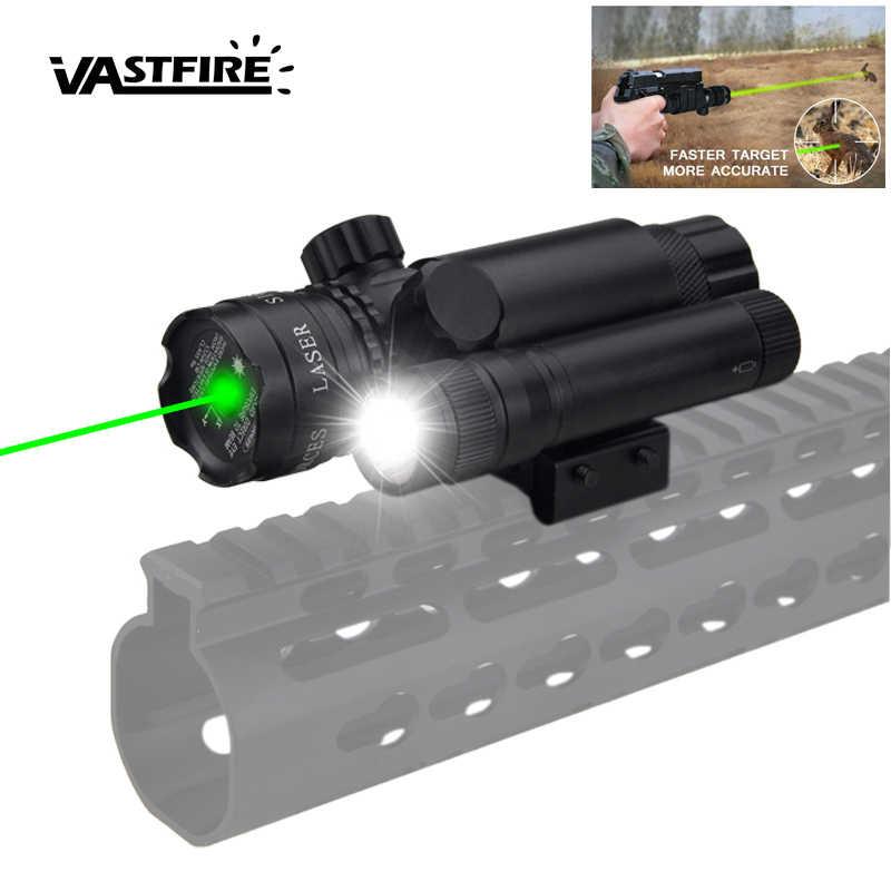 Taktik avcılık yeşil nokta lazer görüş + tüfek kapsam namlu + uzaktan basınç anahtarı + ray dağı + CR123 + silah hafif silah Torch + 2*14250